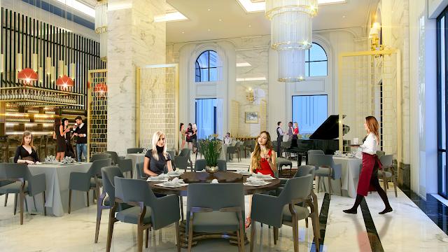 Khu ẩm thực cafe sạng trọng với thiết kế cổ điển phương Tây