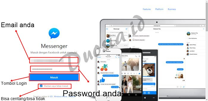 Masuk facebook di Messenger WEB