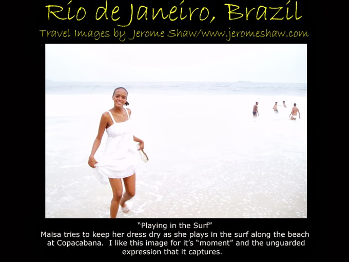 Maisa Playing in the Surf on Copacabana Beach Rio de Janeiro Brazil -copyright Jerome Shaw 2005 / www.jeromeshaw.com