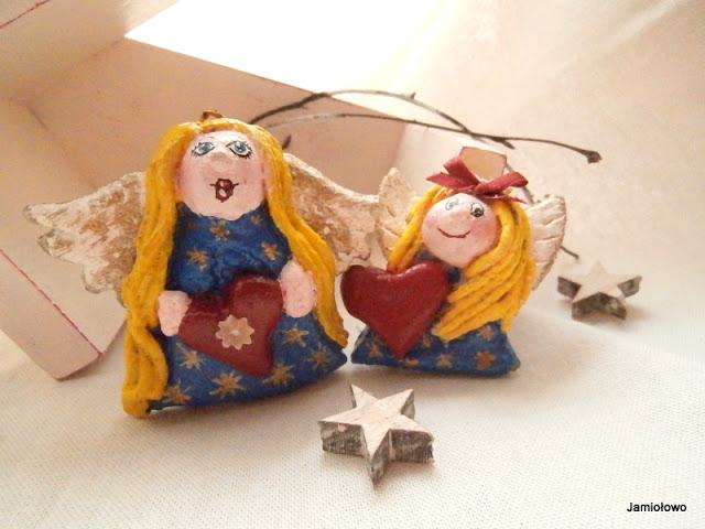 aniołki ręcznie robione -ozdoba świąteczna