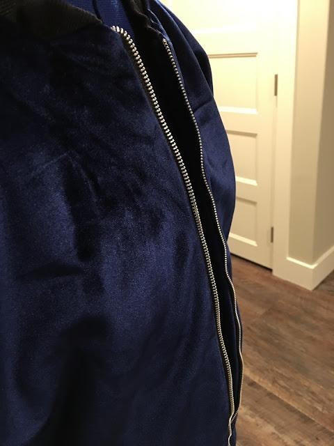 Blue velvet jacket using McCall's 7100 and fabric from Mood Fabrics - zipper