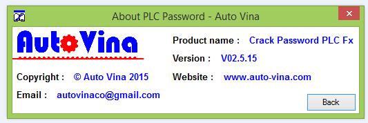 Thông tin về phần mềm crack password PLC Mitsubishi do Công ty Auto Vina phát triển