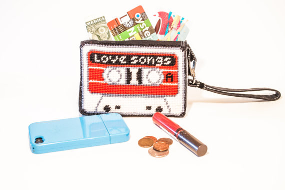 Tapestry stitch cassette tape purse with phone, lipstick and loose change