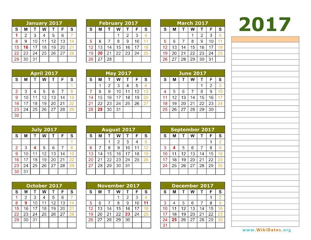 attendance calendars 2018