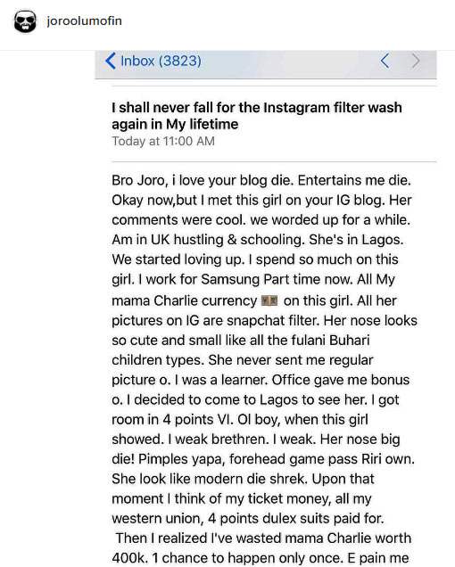 Man cries out: She used filters on Instagram but ugly in real life