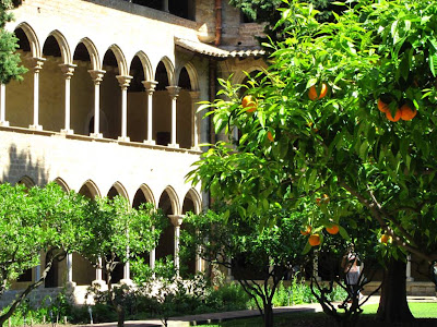 Orange trees inside the cloister of Pedralbes Monastery
