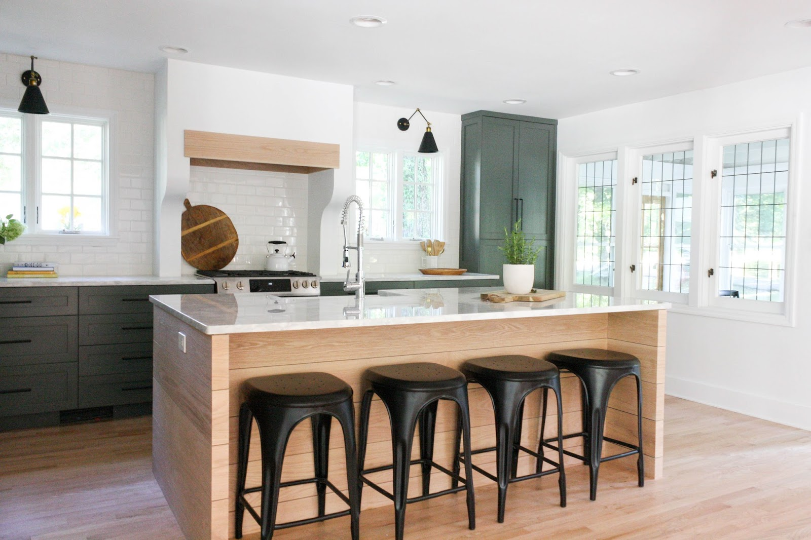 The Paint Color Used On Cabinets Is Sherwin Williams Pewter Green Library Sconces Are From Amazon Bar Stools Restoration Hardware