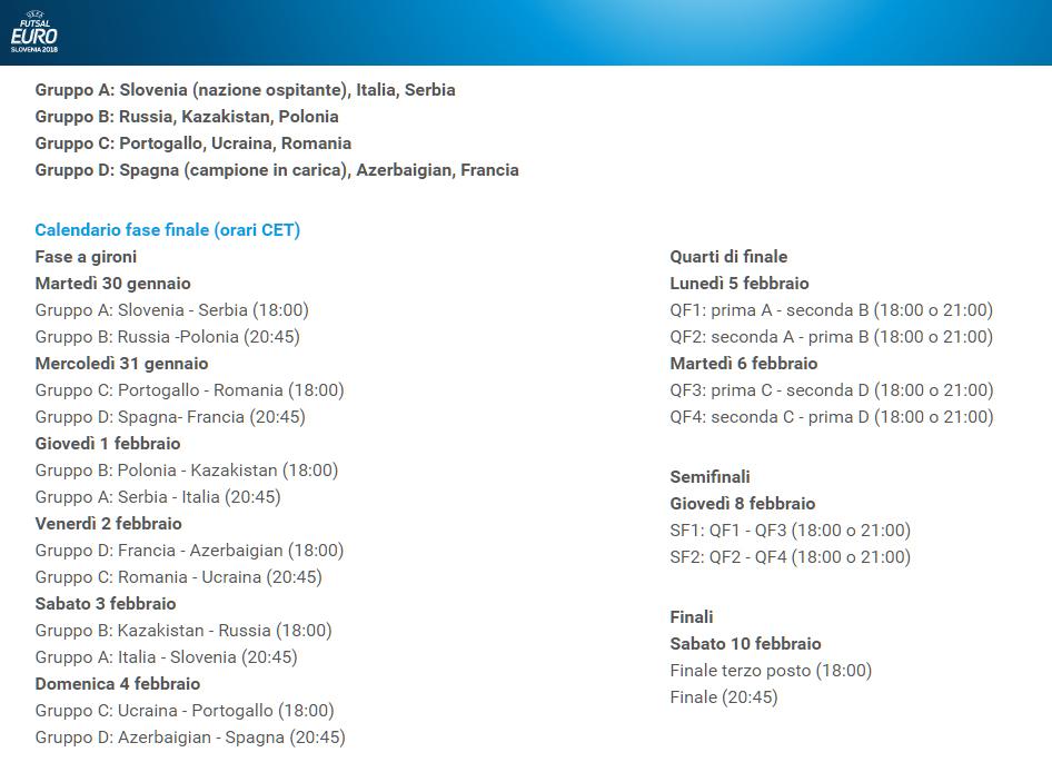 europeo futsal 2018 calendario arena stozice