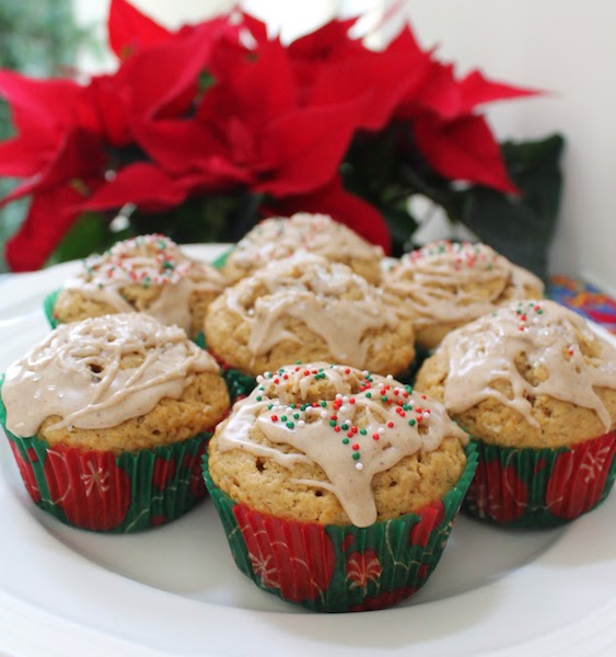 Food Lust People Love: These delicious eggnog muffins with eggnog glaze are redolent with bourbon, eggnog, brown sugar, cinnamon and nutmeg, are perfect for an easy Christmas morning breakfast or afternoon treat.