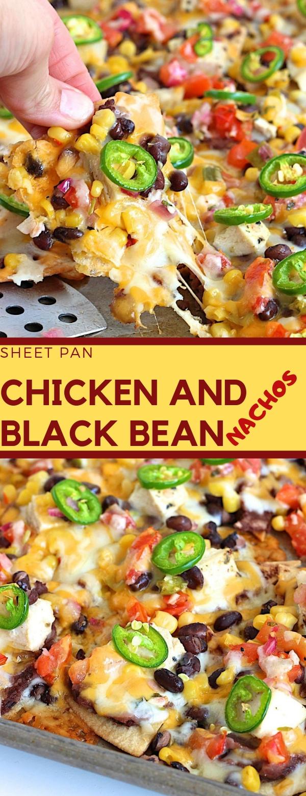 SHEET PAN CHICKEN AND BLACK BEAN NACHOS #CHICKEN #BLACKBEAN #DINNER