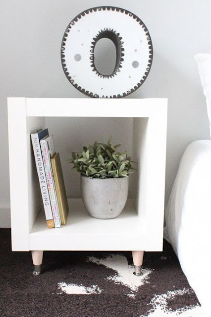 Ikea hack for Kallax shelving to become chic modern nightstand - found on Hello Lovely Studio
