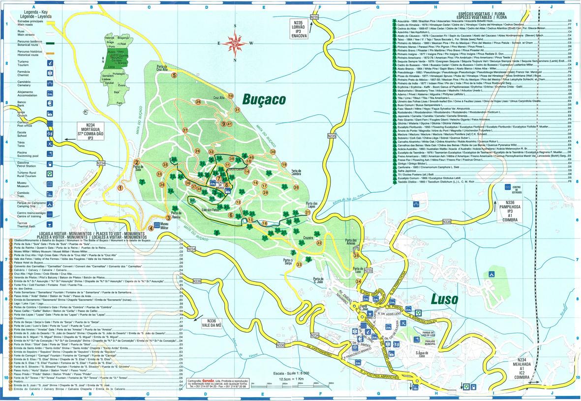 mapa buçaco Escrever Luz: Luso | Tapada do Buçaco mapa buçaco
