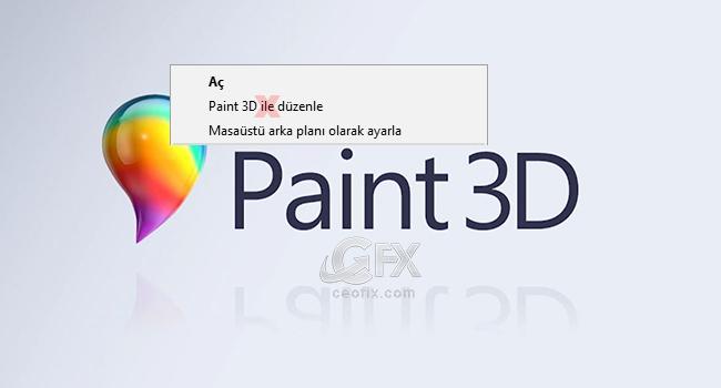 Resim Bağlam Menüsünden Paint 3D İle Düzenleyi Kaldırın