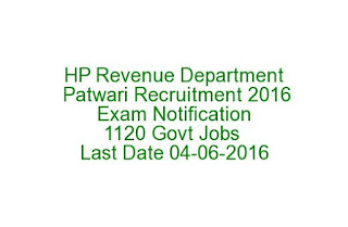HP Revenue Department Patwari Recruitment 2016 Exam Notification 1120 Govt Jobs Last Date 04-06-2016