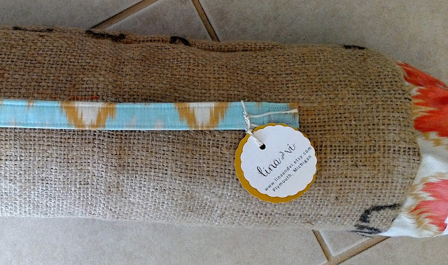 Burlap Yoga Mat Bag by Lina and Vi - linaandvi.etsy.com
