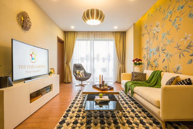 Thiết kế phòng khách căn hộ mẫu Five Star Garden