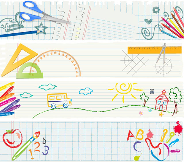 banners_school_tools_vector