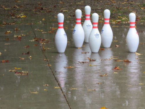 bowling pins in the rain