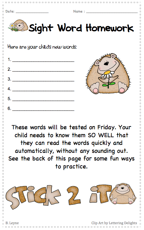 Sight Word Homework. Free printable.