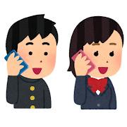 いろいろな携帯電話で話す学生のイラスト