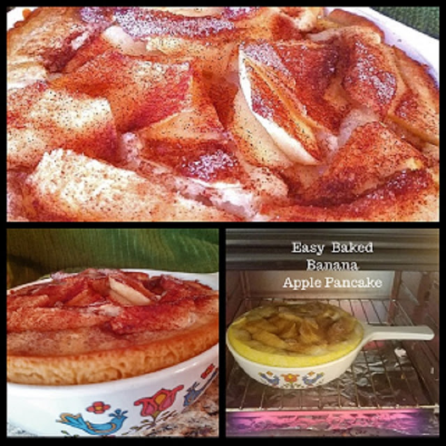 this a collage of baked pancakes using a complete mix and topping this pancake with apples, banana, cinnamon and sugar in a casserole dish