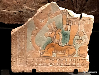fragment of painted plaster showing a horse or mule