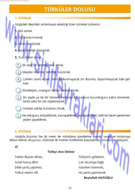 7. Sınıf Türkçe Çalışma Kitabı Cevapları Ezde Yayınları Sayfa 23