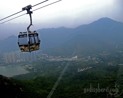 Ngong Ping 360 Cable Car hanging in on thin cable