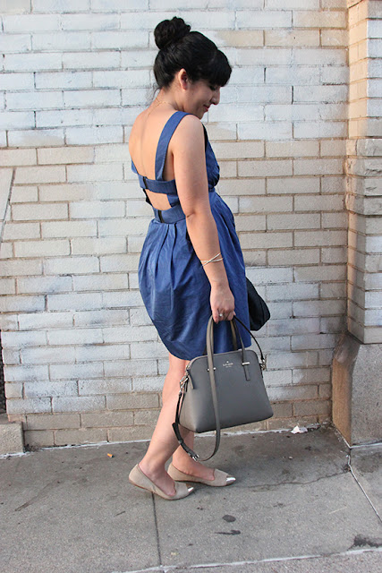 All Saints Blue Cut Out Dress Spring Outfit Inspiration