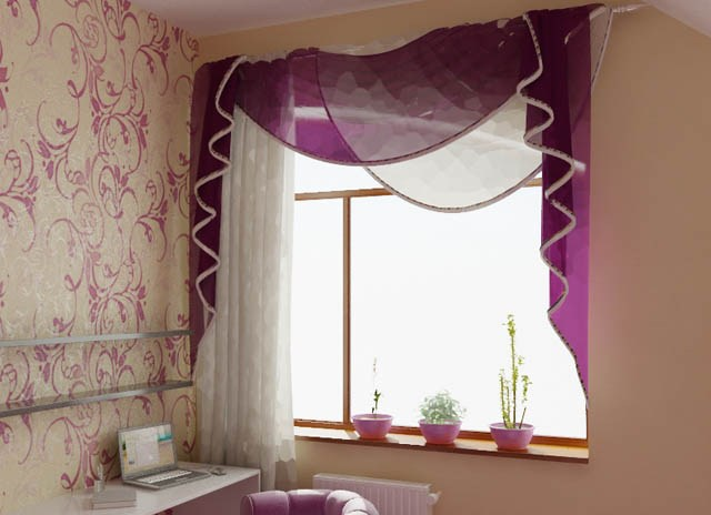 Purple window curtains, bedroom curtains
