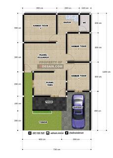 denah rumah minimalis 7x12 3 kamar tidur 1 lantai