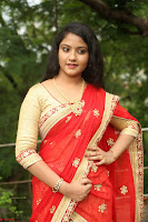 Akshara in Red Saree Golden Choli at LV Movie Makers Production No 1 Movie Opening ~  Exclusive 071.JPG