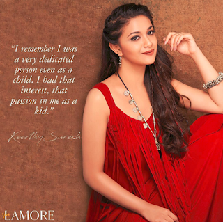 Keerthy Suresh in Red Dress with Cute Smile for LAMORE Magazine Cover Page Photo Shoot Images