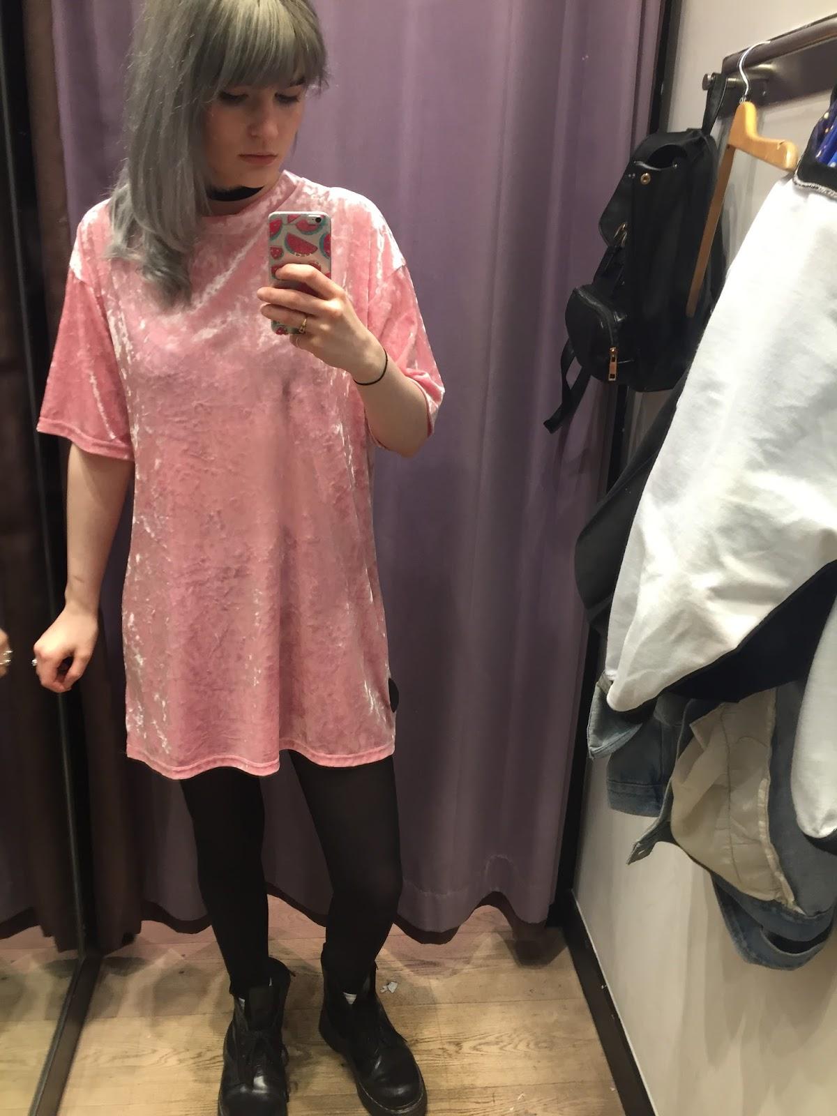 Topshop pink velvet tunic