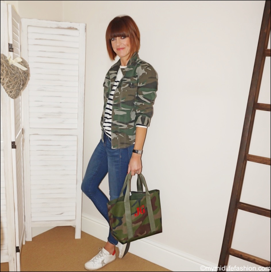 my midlife fashion, j crew camouflage overskirt, sezane Loïc stripe top, j crew 8 inch stretchy toothpick jeans, golden goose superstar low top leather trainers, initially London Charlton tote