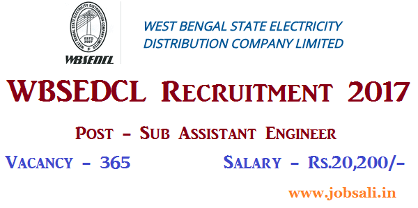 WBSEDCL assistant engineer vacancy 2017, WBSEDCL Career, Govt Engineering jobs