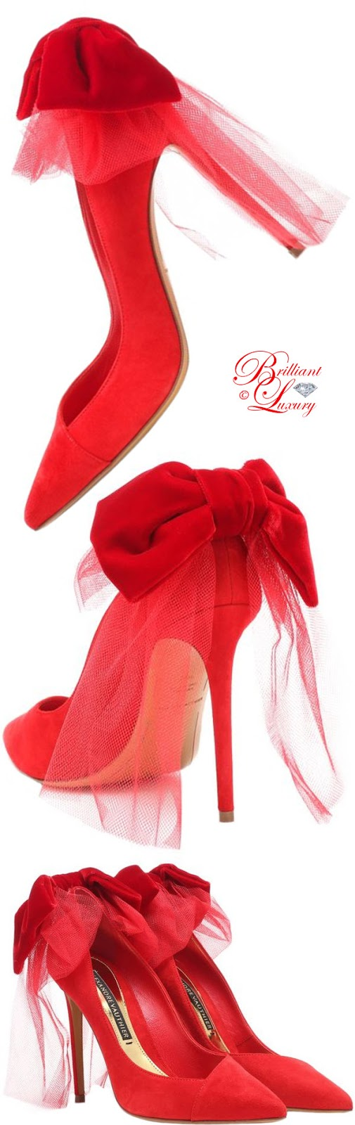 Brilliant Luxury ♦ PANTONE Fashion Color SS 2019 ~ Fiesta ♦ Alexandre Vauthier Vivian bow suede pumps #red