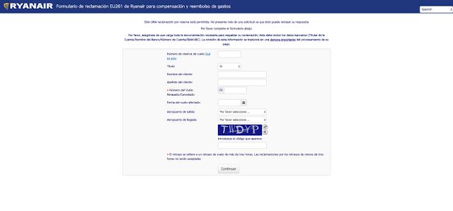 Formulario reclamación Ryanair