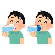 水分補給をする人のイラスト(男性)