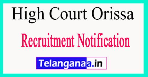 Orissa High Court Recruitment Notification