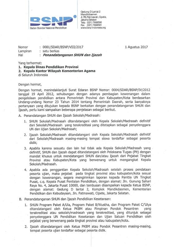 Surat Edaran BSNP No 0081/SDAR/BSNP/VIII/2017 dan 0082/SDAR/BSNP/VIII/2017 Tentang Penandatanganan SHUN dan Ijazah