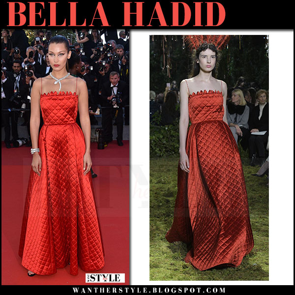Bella Hadid in red quilted gown dior couture Cannes Film Festival 2017 what she wore