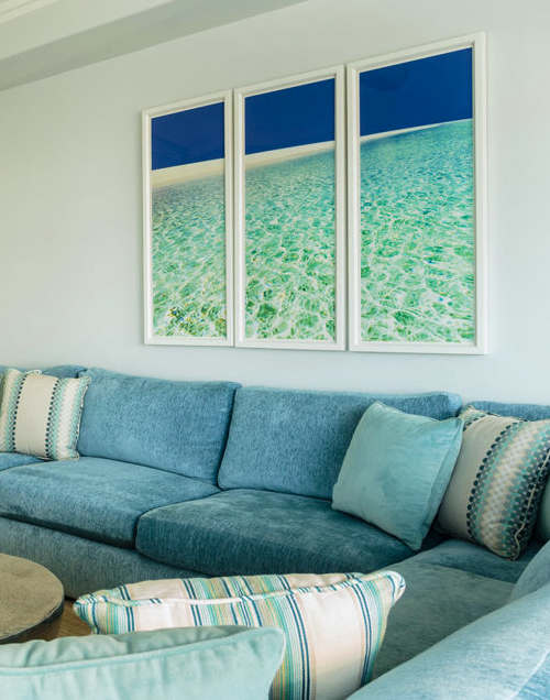 Ocean Photo Art Triptych above Sofa