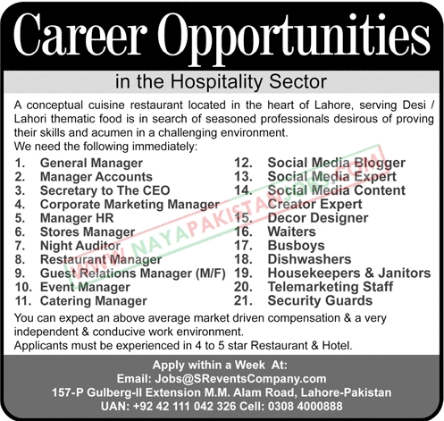 Lahore Jobs, Jobs in Lahore , Lahore Restaurant Jobs 2019 | 20+ Posts