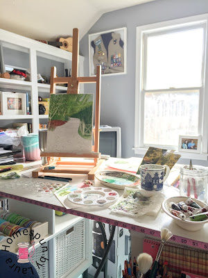 homespun by laura paint my vacation watercolor shakespeare garden central park new york city nyc work in progress easel desk