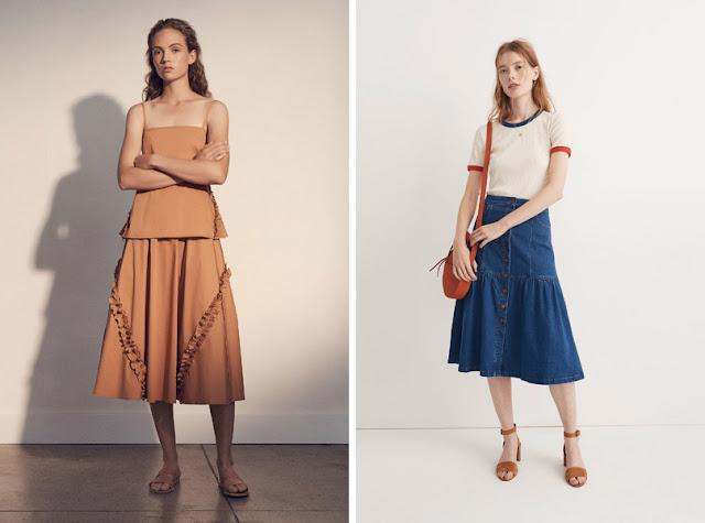 Девушка в коричневой юбке с рюшами