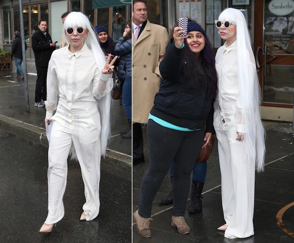 During very cold days lagy gaga seen in full white outfit.