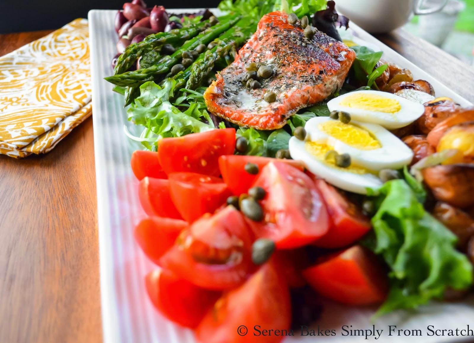 Salmon Nicoise Salad a light healthy dinner.