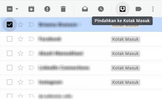 Pindah pesan arsip ke inbox