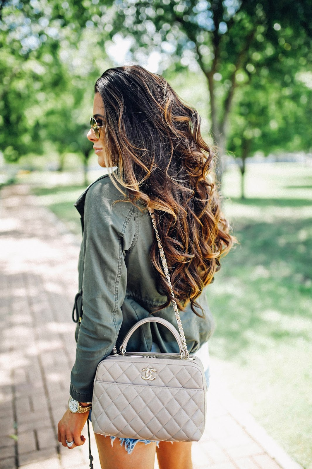 emily gemma, the sweetest thing blog, emily gemma hair, brunette balayage, hair painting, emilyanngemma instagram, chanel bowling bag in beige 2016, green military jacket outfit idea, fall outfit ideas jean shorts with booties, pinterest fall outfit idea, pinterest fall fashion, green utility jacket outfit idea, brunette hair color for fall, balayage for fall, long layer medium haircut, dallas fashion blog, tulsa fashion blogger, one teaspoon shorts, vince camuto feina booties, booties with shorts outfits, how to style booties with shorts and dresses